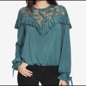 william rast // green holiday blouse